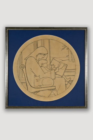 Untitled Drawing <br/>(Mother Reading to Child with Cat)<br/> by Will Barnet