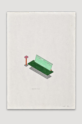 Panchina (Bench) Drawing <br/>by Nathalie Du Pasquier