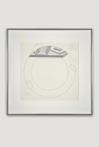 Presentation Drawing for Lettuce Plate <br/> by Ettore Sottsass for Bloomingdale's