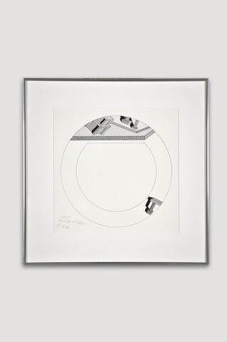 Presentation Drawing for Indivia Plate <br/> by Ettore Sottsass for Bloomingdale's