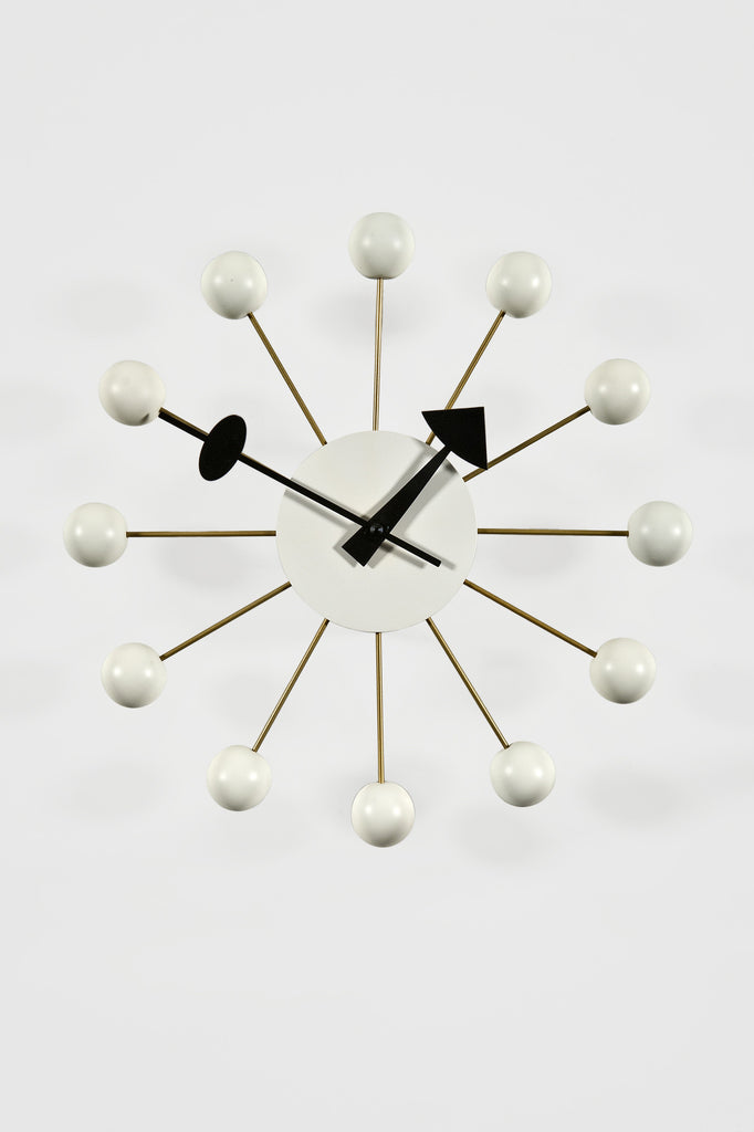 Ball Clock in White by George Nelson for the Vitra Design Museum sold by the modern archive