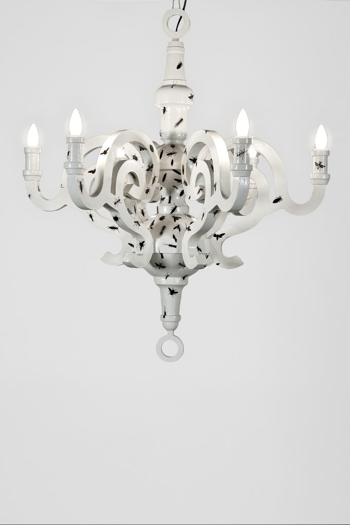 Graphic Paper Chandelier by Studio Job (Moss Edition) sold by the modern archive
