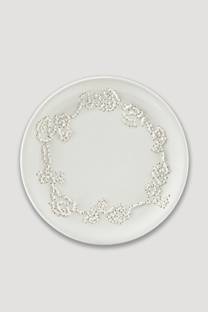 Embroidered Plate from Delft Blue Project by Hella Jongerius sold by the modern archive