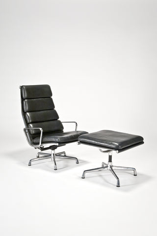 Soft Pad Executive Chair and Ottoman<br/> by Charles and Ray Eames