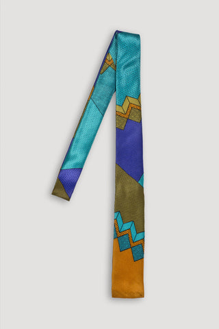 Memphis Milano Silk Tie in Blue/Rust <br/> by Ettore Sottsass