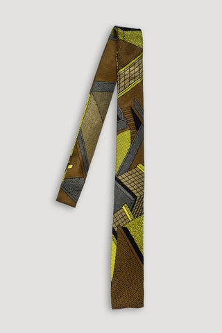 Memphis Milano Silk Tie in Brown <br/> by Ettore Sottsass