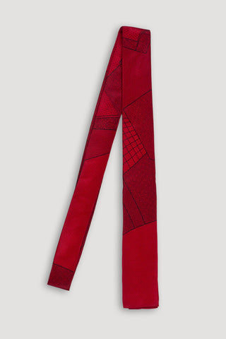 Memphis Milano Silk Tie in Red <br/> by Ettore Sottsass
