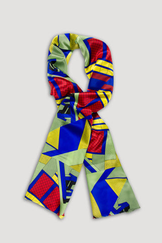 Memphis Milano Silk Scarf in Red/Blue <br/> by Ettore Sottsass