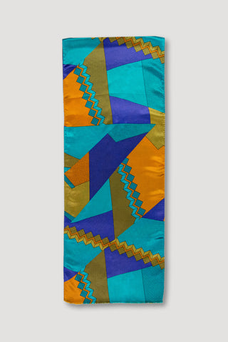 Memphis Milano Silk Scarf in Blue/Rust <br/> by Ettore Sottsass