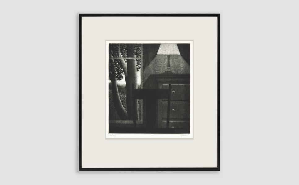 Window with Lamp  Mezzotint by Robert Kipniss