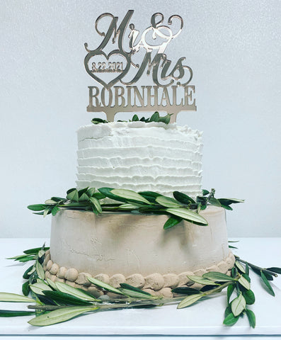 Vegan Two-Tier Wedding Cake With Olive Branches