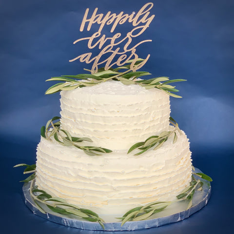 Two-tier cake with olive branches