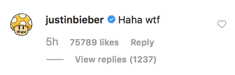 Justin Bieber comment on Ariana Grande's TikTok Instagram post