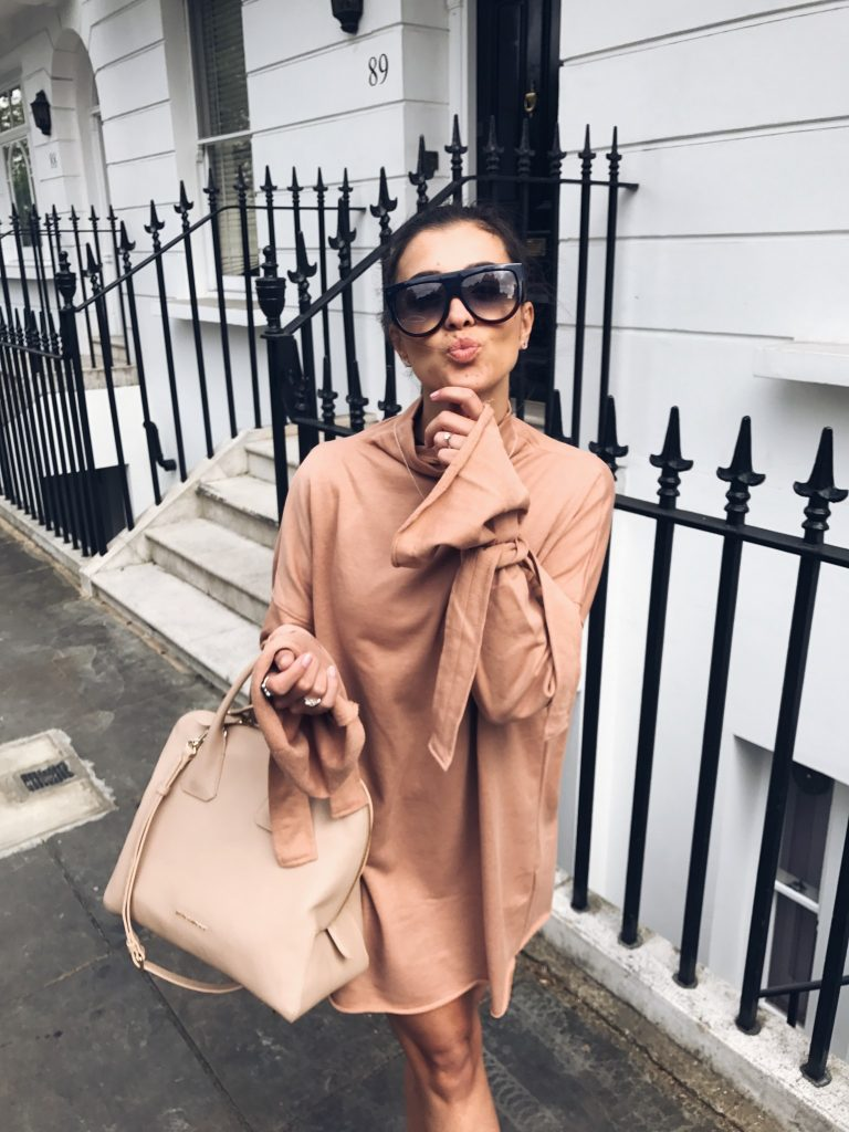 Missguided Nude Knot Sweater Dress