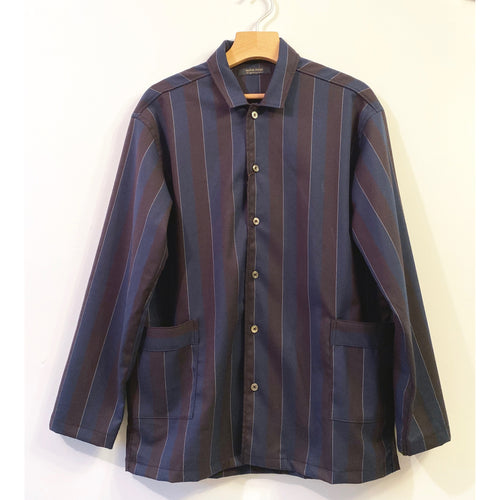 Navy and Black Striped Shirt with Pockets