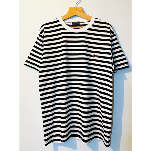 Black and White Stripes Embroidered T-shirt