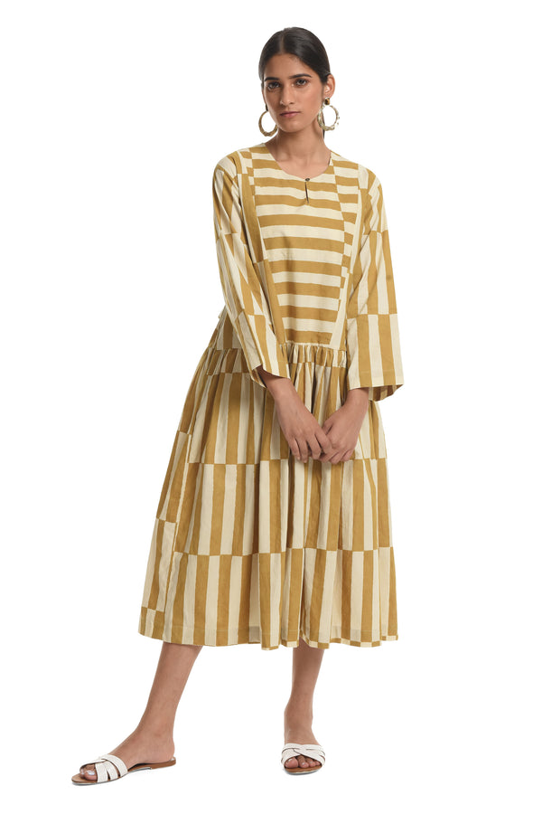 Displaced Stripe Dress Ochre