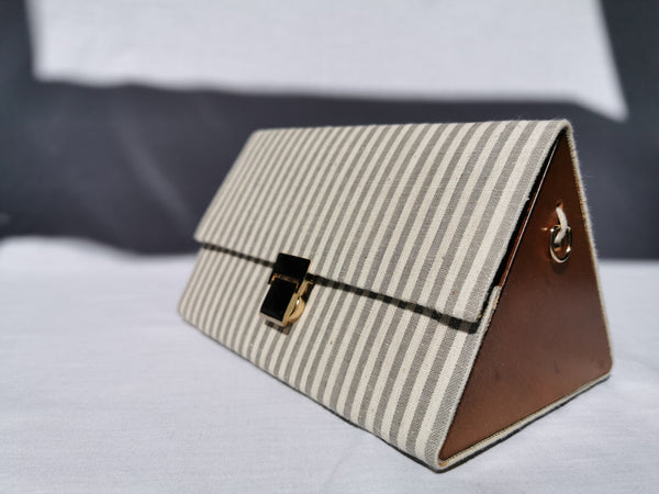 Triangular Prism Bag | Grey Stripes