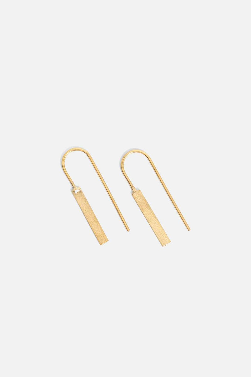 Gold rectangle line earrings