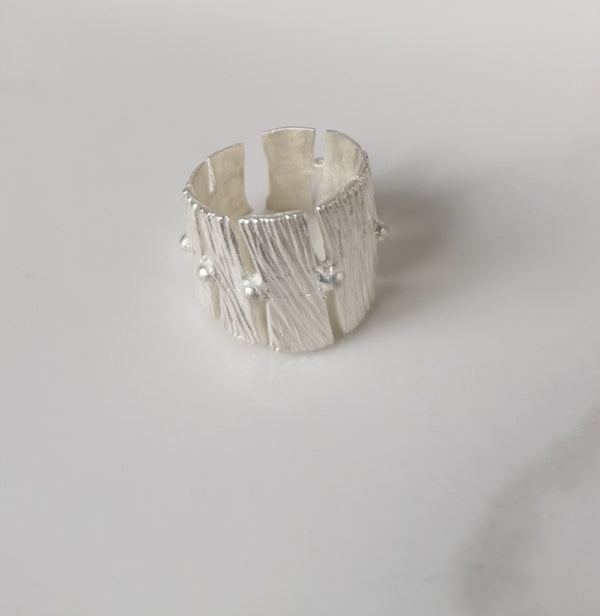 Silver Ring with Bark wood texture