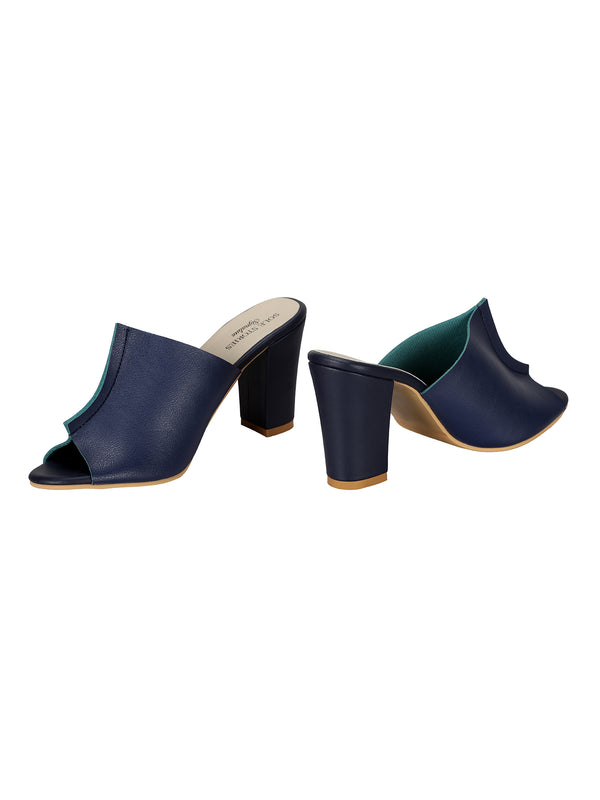 Two Toned Mules | Navy