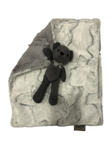 Luxe Crackle Charcoal Teddy Blanket