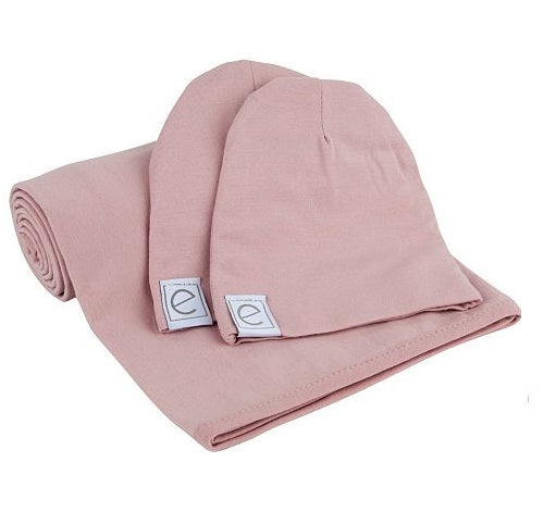 Ely's & Co Jersey Cotton Swaddle Blanket & Baby Hat - Pink