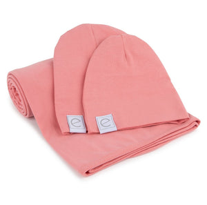 Ely's & Co Jersey Cotton Swaddle Blanket & Baby Hat - Rose Pink