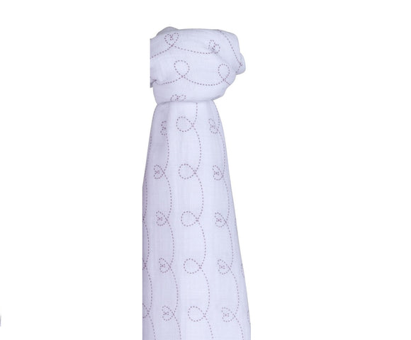 Ely's & Co Cotton Muslin Swaddle Blanket: Lavender Hearts
