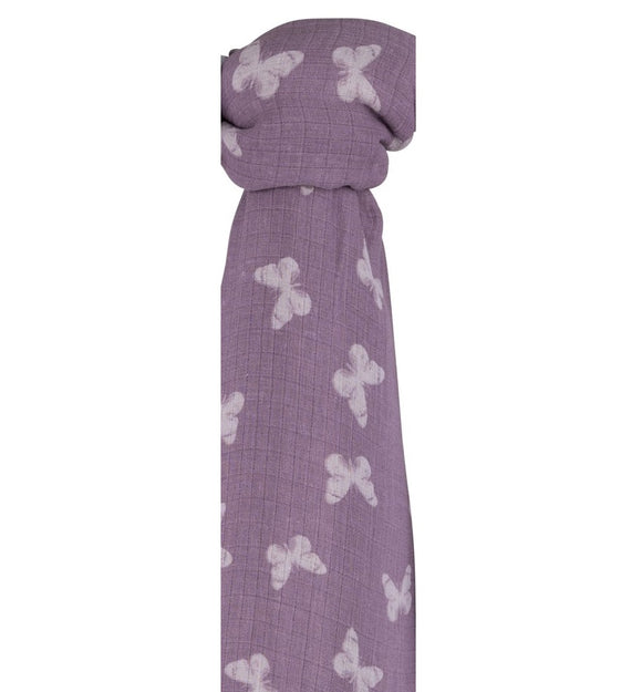 Ely's & Co Cotton Muslin Swaddle Blanket: Lavender White Butterflies