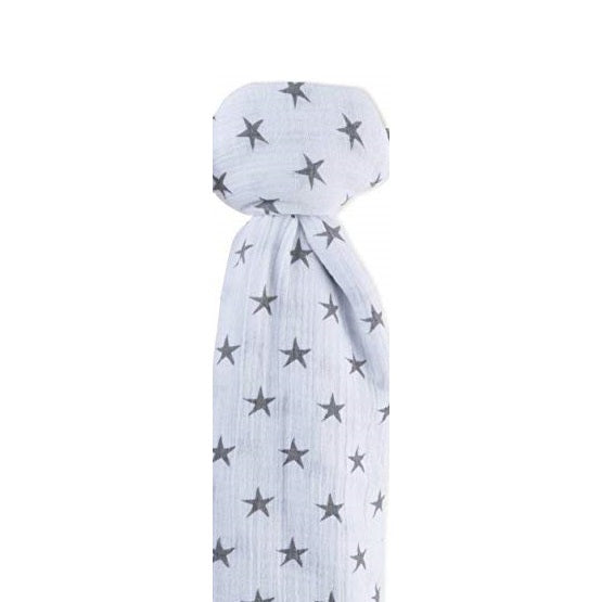 Ely's & Co Cotton Muslin Swaddle Blanket: Multi Grey Stars