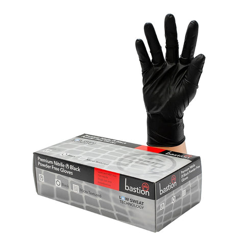Bastion Premium Black Nitrile Gloves - Large (x100)