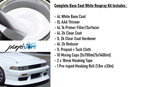 Base Coat Respray Kit - White (Paint/Clear/Thinners inc)