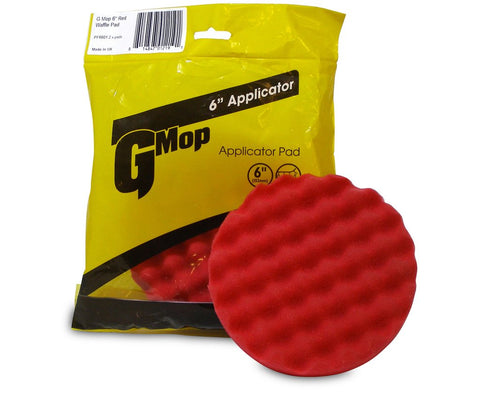 "G Mop 6"" Red Waffle Applicator Pad (2 pack)"