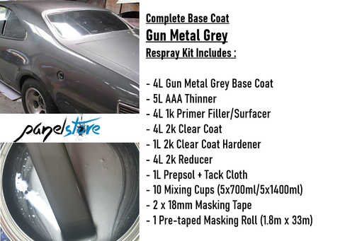 Base Coat Respray Kit - Gun Metal Grey (Paint/Clear/Thinners inc)