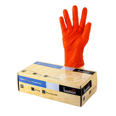 Bastion Nitrile Orange Gloves Large (x100)