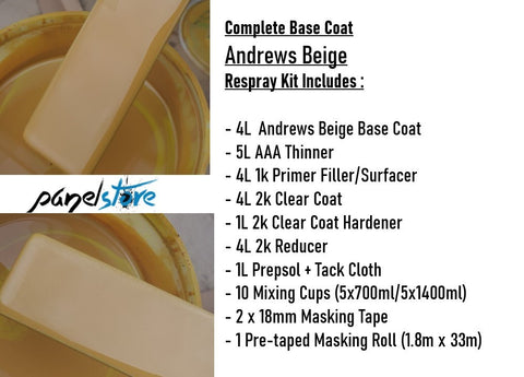 Base Coat Respray Kit - Andrews Beige (Paint/Clear/Thinners inc)