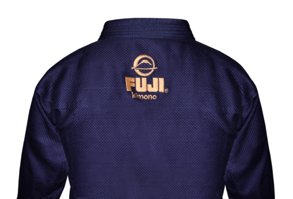 Fuji sports All Around BJJ Gi beginner navy blue back logo stitching gold