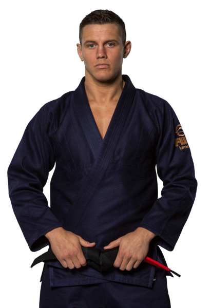 Fuji sports All Around BJJ Gi beginner navy blue front closeup