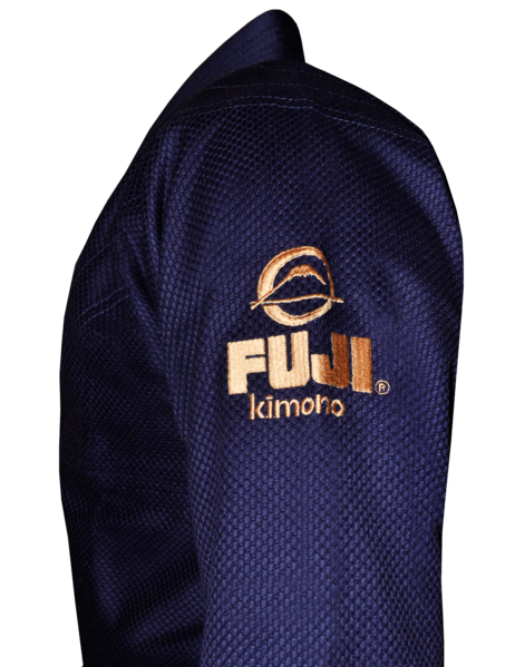 Fuji sports All Around BJJ Gi beginner navy blue side left shoulder logo stitching gold