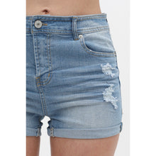 Load image into Gallery viewer, Light-Blue Cuffed-Hem Denim Shorts
