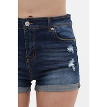 Load image into Gallery viewer, Blue Cuffed Hem Denim Shorts