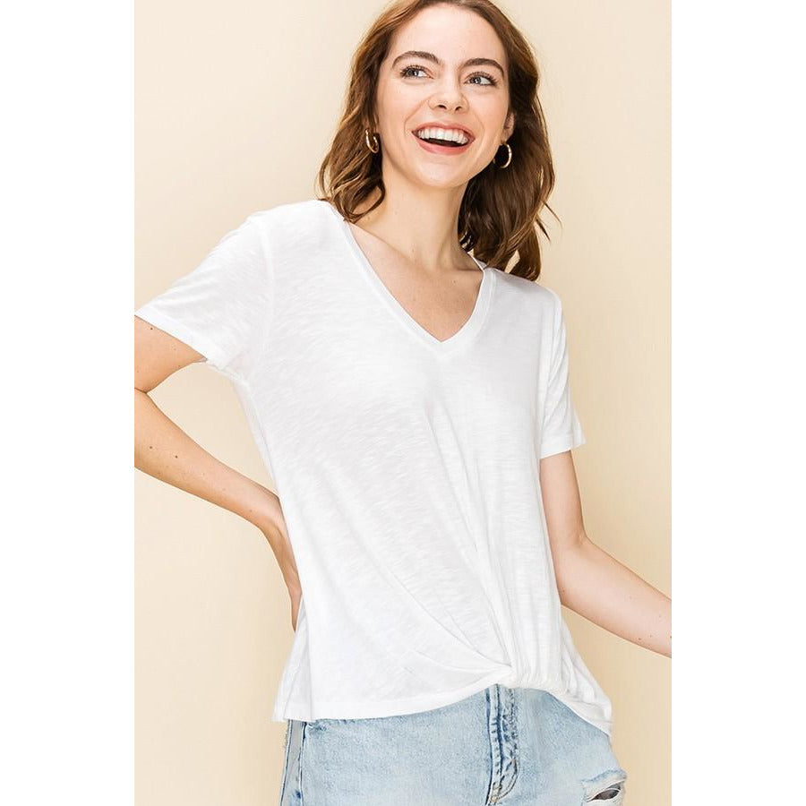 White V-Neck Front Knot Short Sleeve Top