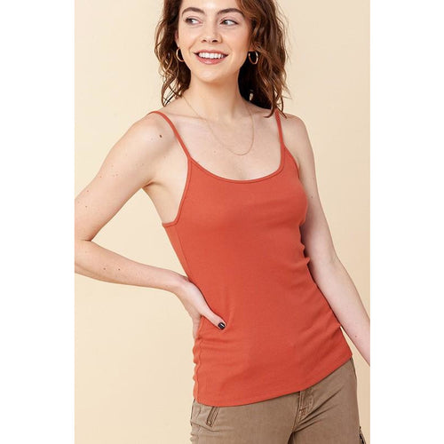 Scooped Neck Ribbed Cami Top (select colors)