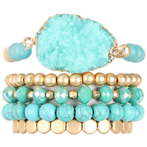 Druzy Charm Mixed Bracelet Set (multiple colors)