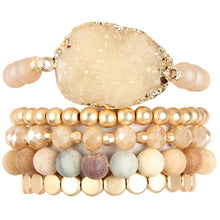 Load image into Gallery viewer, Druzy Charm Mixed Bracelet Set (multiple colors)