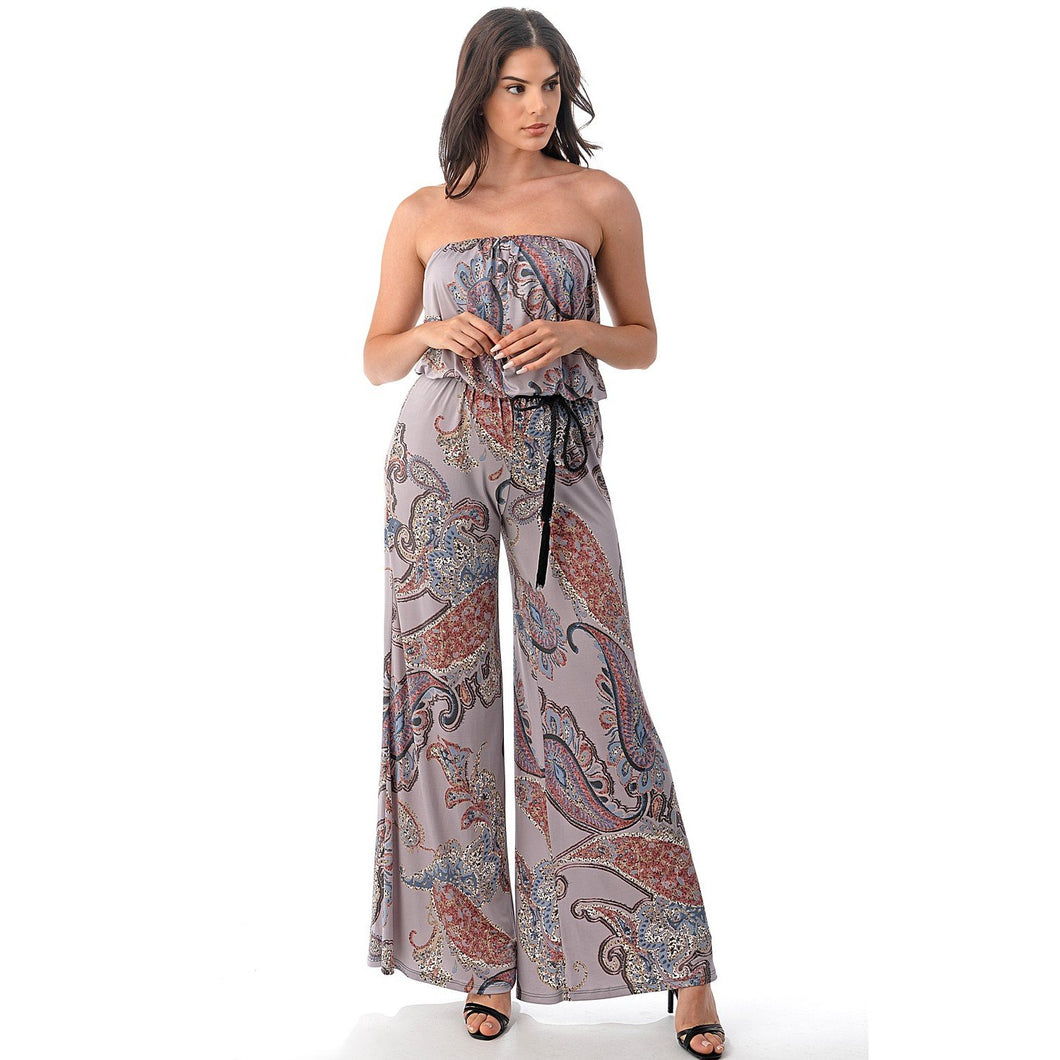 Paisley Tube Top Jumpsuit