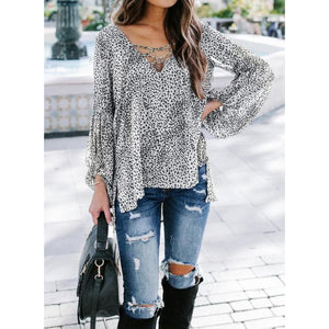 White and Black Lantern Lace-up Blouse