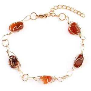Natural Stone Wire Wrap Bracelet (multiple colors)
