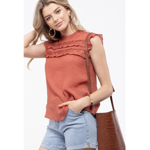Rust Lace and Ruffle Detailed Top